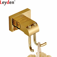 Leyden Robe Hooks Modern Golded Finish Brass Wall Mounted Clothes Towel Hooks Wall Hanger Bathroom Accessories Robe Hooks