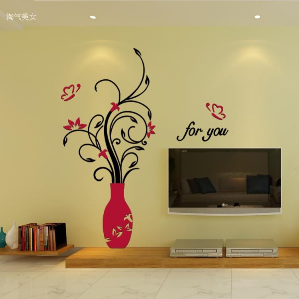 Crystal Arcylic 3D Plant Flower Vase Wall Sticker For Home Room ...