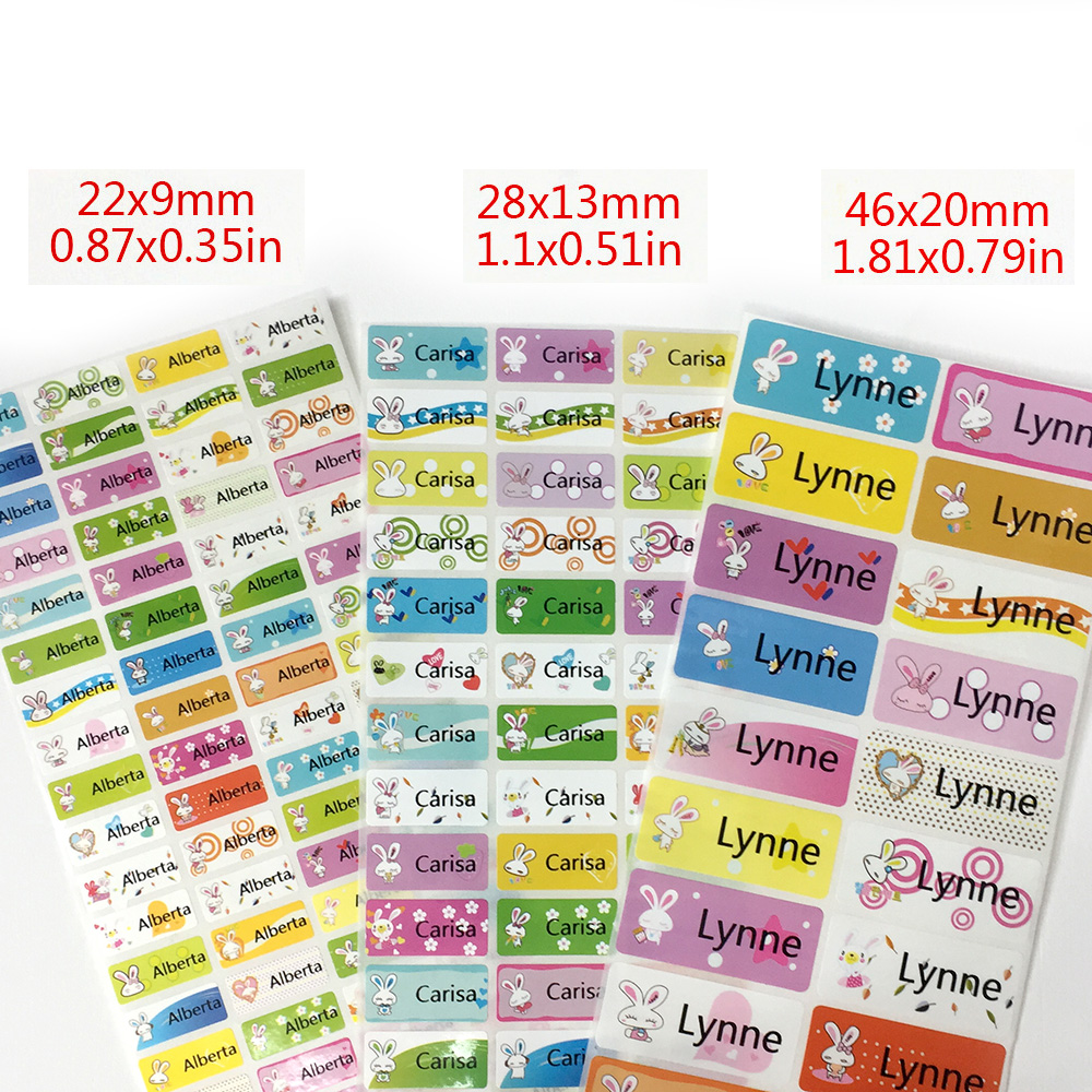 3Size  Cartoon Cute Rabbit Custom Name Stickers Girls Waterproof Personal Tag Labels For Daycare Scrapbook School Stationery Set