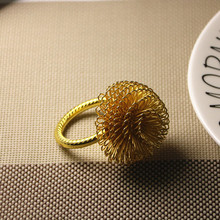 6PCS creative pine flower napkin buckle model room ring circle cloth gold / silver
