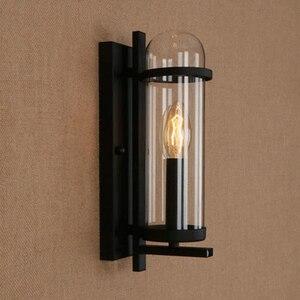 Image 4 - Outdoor waterdichte retro cilindrische glazen wandlamp industriële restaurant bar studie smeedijzeren wandlamp