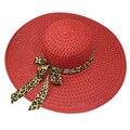 Красный Лето Изысканный Leopard Bowknot Ленты Оформлен Ажурные Вс Hat Для Женщин