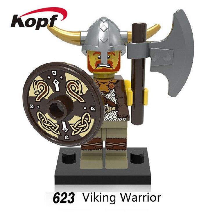 20Pcs Super Heroes Viking Medieval Egyptian Warrior Barbarian Bricks Action Figures Building Blocks Children Gift Toys XH 623
