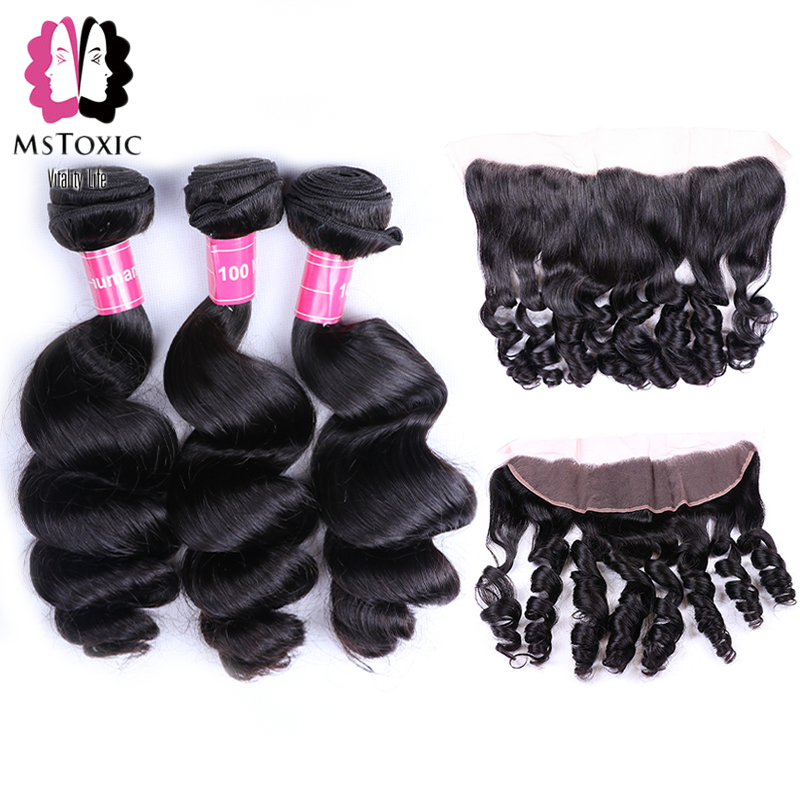Mstoxic Peruvian Loose Wave Bundles With Frontal 13x4 Lace Frontal Closure With Bundles Non-Remy Human Hair Bundles With Closure
