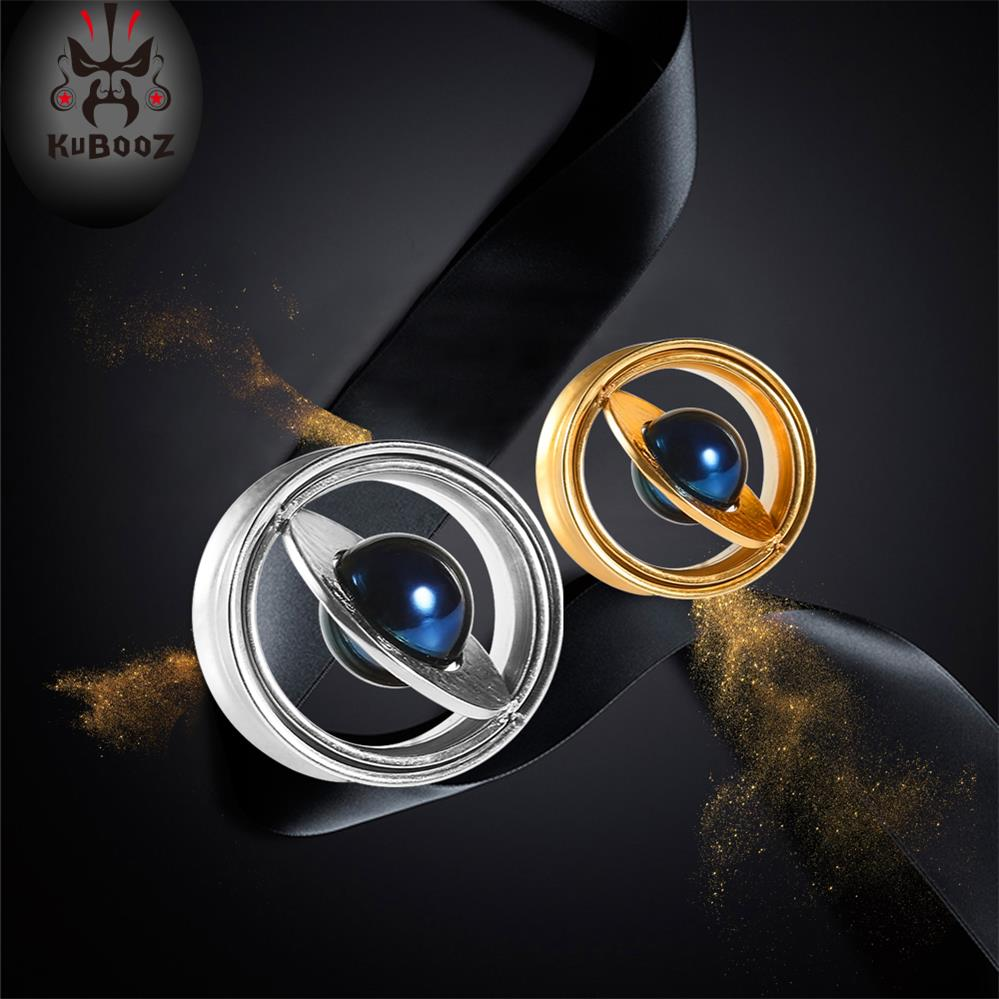 KUBOOZ Screw Ear Plugs Tunnels Stainless Steel Expander Flesh Gauges Studs Earrings Fashion Planet Piercing Body Jewelry Gift(China)