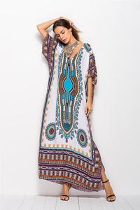 Image 4 - Dubai Maxi Kaftan kadın moda müslüman elbise baskı Vintage kadın plaj yaz Robe büyük boy Arabes çarşaf İslami giyim
