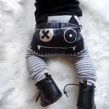 Infant Baby Boy Cool Harem Pants Babies Boy Street Striped Elastic Monster Clothing Toddler Bottoms Boy Pants Legging