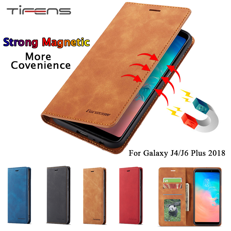 Luxury Leather <font><b>Case</b></font> For <font><b>Samsung</b></font> <font><b>Galaxy</b></font> <font><b>J6</b></font> J4 Plus 2018 Magnetic Wallet Flip Card Holder Stand Bags <font><b>360</b></font> Protection Cover Carcasa image