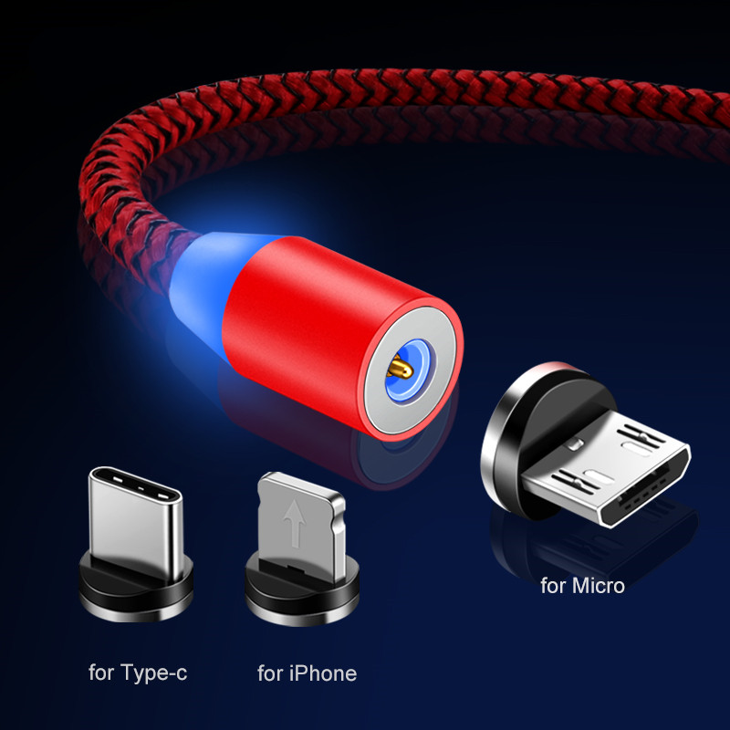 Magnetic USB Cable 1M Fast Charging Cord For iPhone Cable for Samsung S8 S9 S10 5G Plus Redmi Note 4 5 6 7 Pro Phone Wire