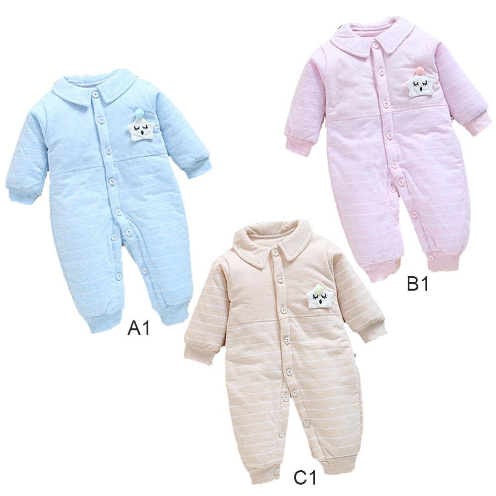 Winter Thickened Star Lapel Baby Snowsuit Newborn Children Jumpsuit Snow Wear Coats Warm Boys Girls Clothes Bodysuit 0-3 Months