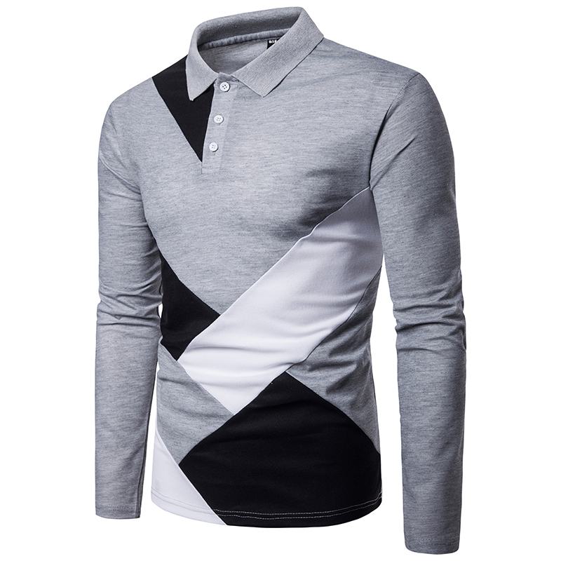 Men's Cross-Border   Polo   Shirt Camisa Masculina Shirt Cotton Long Sleeve Shirt Brands Summer Sports Irregular Stitching Shirt Top