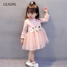 LILIGIRL Long-Sleeve Kids Elegant Party Dresses for Baby Spring Cotton Clothes 2019 New Girls Waist Flowers Lace vestidos Dress