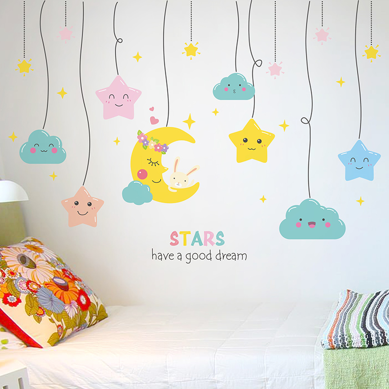 [shijuekongjian] Cartoon Stars Wall Stickers DIY Moon Mural Decals for Kids Rooms Living Room Baby Bedroom Decoration