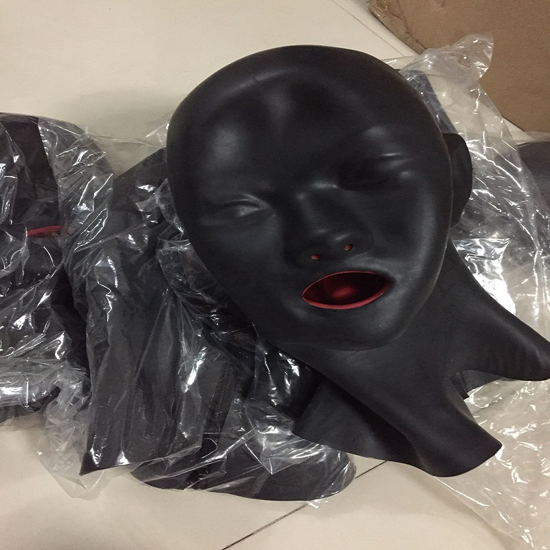 Latex Anatomical 3D mask w ears black w red mouth gags lip facing sheath tongue nose