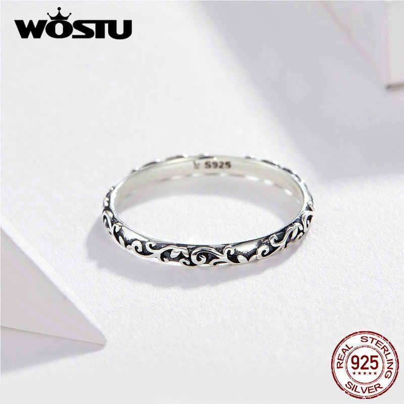 WOSTU koreański styl kwiatowy pierścień 925 srebro delikatne pierścionki Finger dla kobiet ślub minimalistyczny biżuteria FIR513