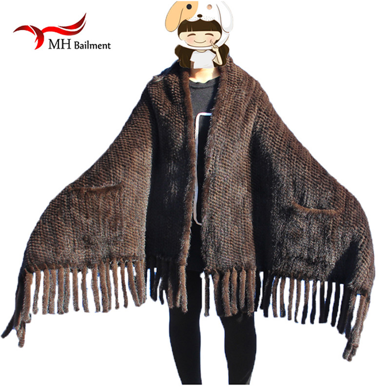 Elegant Real Knitted Mink Fur Shawl Scarf Womens Casual Poncho Knitted Mink Fur Black Scarves Scarf, Hat Glove Sets S#2