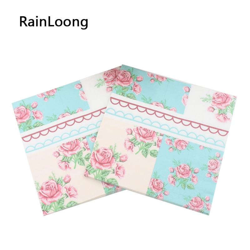 [Rainloong] tejido de servilletas de papel impreso característica rosa festivo y