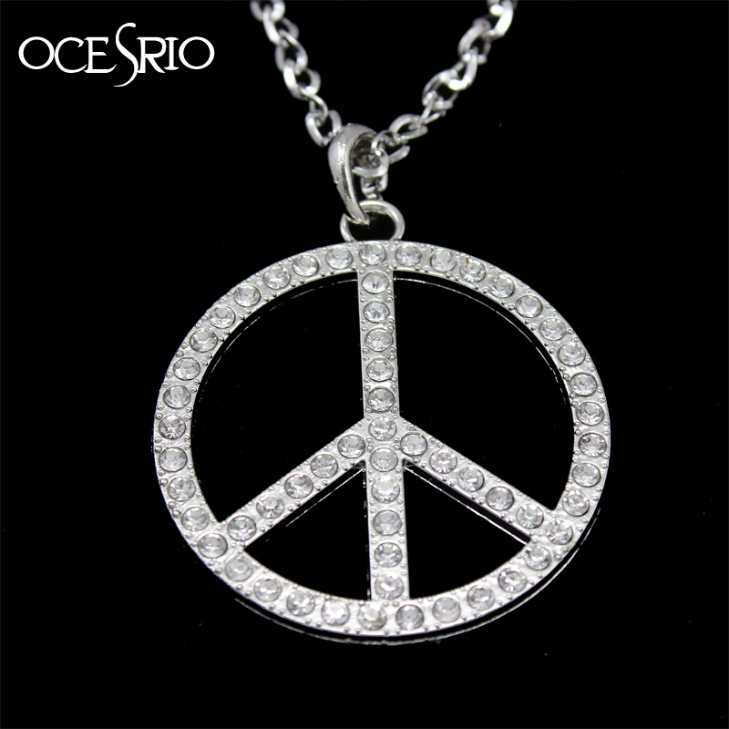 Hip Hop Big Round Pendant Necklace Peace Pattern Silver color  Long Chain Necklace for Men Fashion Jewelry Dresses nke-e34
