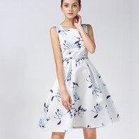 Machen A-line dresst sommer neue mode druck ärmellose runde kragen zeigen dünne taille kleid frau