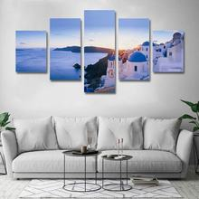5 Pieces Modular Beautiful sea view of Santorini Greece Aegean Sea  Canvas Print Poster Pictures Wall art canvas Paintings Decor