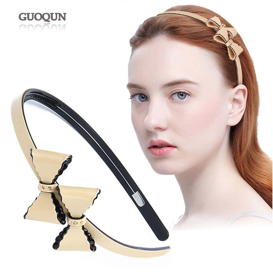 Lovely Super Butterfly Cellulose Acetate Women Makeup Hair Band Beige color Practical Cute Girl Female Headband Hair Accessories