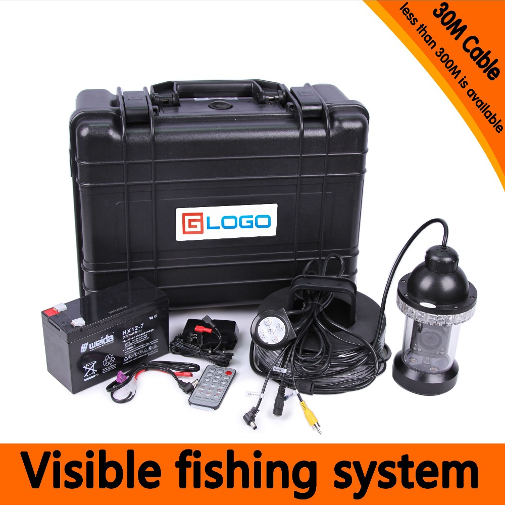 (1 Set) 30M Cable Waterproof Camera HD7inch Screen 1000TVL line Panning Underwater Fishing Camera System 18 White LED 360 degree 1 set 50m cable 360 degree rotative camera with 7inch tft lcd display and hd 1000 tvl line underwater fishing camera system