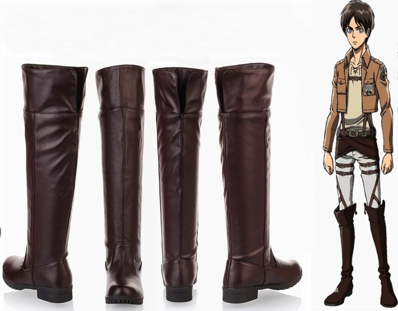 Unisex Attack On Titan Shingeki No Kyojin Eren Levi Cosplay Boots Knee Length Anime Cosplay Shoes Black Brown Euro Size 35-44