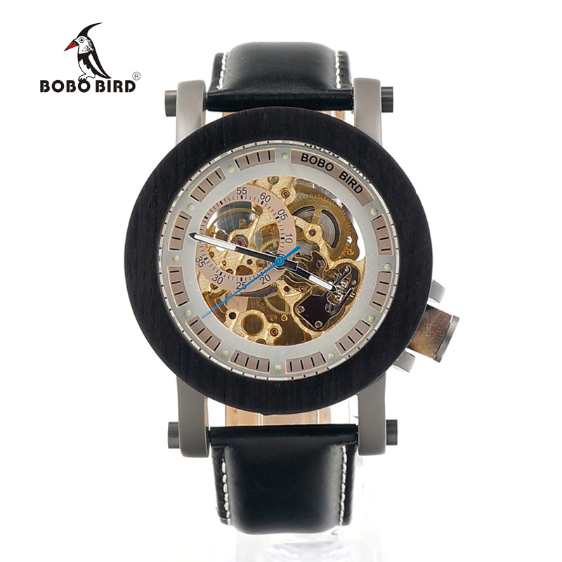ФОТО BOBO BIRD K11 Mens Black Ebony Bezel Mechanical Wristwatches Golden Movement Skeleton Automatic Watch for Men in Gift Wooden Box