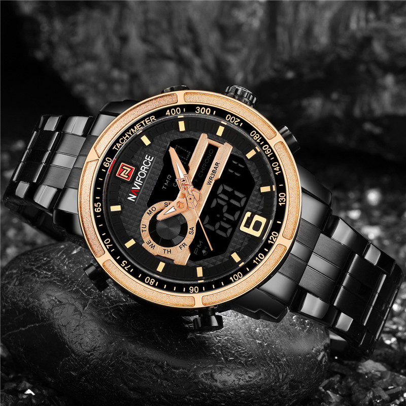 NAVIFORCE Men Watch Sport Digital Mens Watches Top Brand Luxury Military Army Stainless Steel Analog LED Quartz Watch Male Clock naviforce watch men top brand luxury gold stainless steel army military quartz wristwatches clock male sports watch montre homme