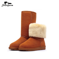 STARFARM Snow Boots Genuine Leather Abrazine Calfskin Warm Fashion Shoes Fashion Russian Boots Winter Women Shoes