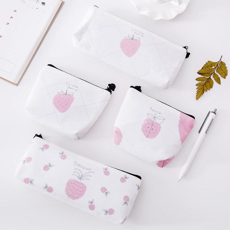 leather purses small fresh PU coin wallet lady fashion fruits pattern cartoon small dollar bags Key bag cosmetic storage bag