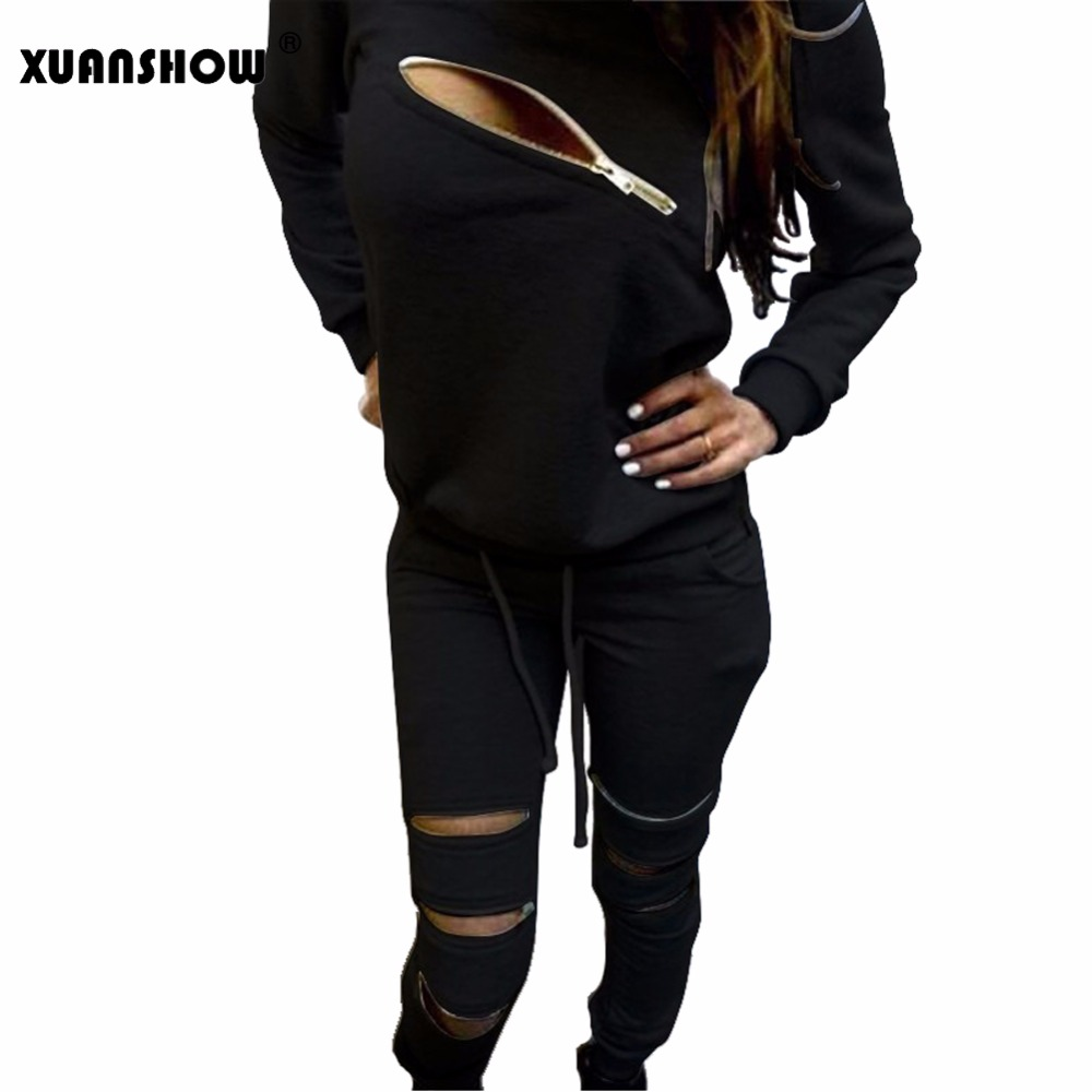 XUANWHOW 2020 Fashion Zipper Hollow Out Women Tracksuits Suit O-Neck Long Sleeve Women Hoodies 2 Piece Set Sportwear Tracksuit