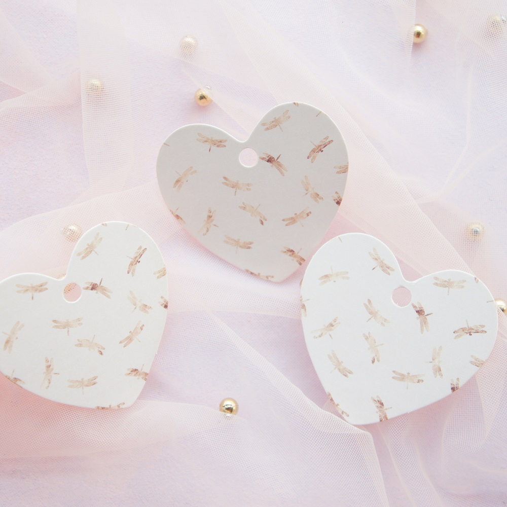 Romantic Dragonfly 50 pcs love heart shape paper labels packaging decor tags wedding favor gifts tag label Scrapbooking DIY in Party DIY Decorations from Home Garden