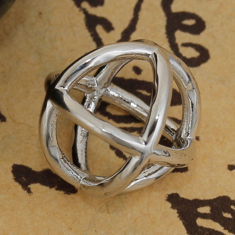 DoreenBeads Copper Silver Tone 3D Charms Geometric Cross Hollow Pattern DIY Jewelry Components 12mm( 4/8) x 12mm( 4/8), 3 PCs