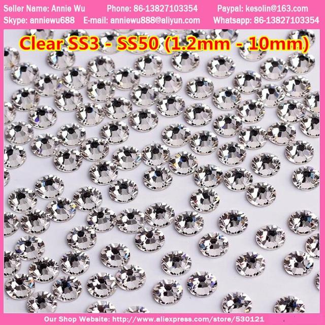 Free shipping 2mm 3mm 4mm 1440pcs Non Hot Fix Flatback Glass Nail Crystals Rhinestone ss20 ss40 ss50 ss16 Strass Nail Decoration