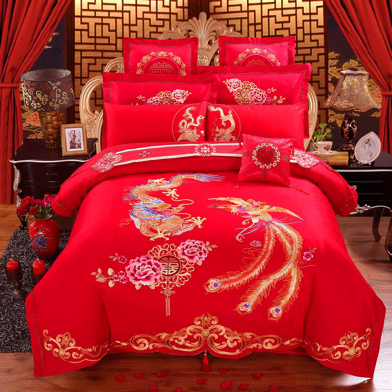 Traditional Chinese Wedding Embroidery Cotton Bedding Set