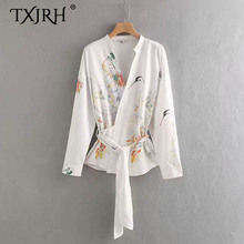 TXJRH 2019 Vintage Ethnic Floral Crane Print Cross Deep V-Neck Shirt Fashion Waist Sashes Tied Bow Women Long Sleeve Blouse Tops ethnic plunging neck long sleeve print blouse for women
