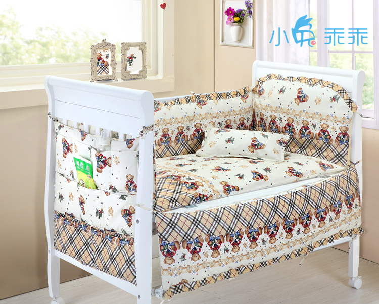 Promotion! 6PCS Bear Cotton Baby crib bedding set Bed Sheet Pillowcase (bumpers+sheet+pillow cover)