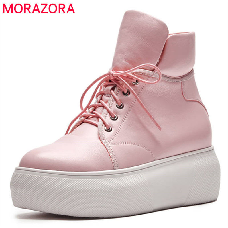 MORAZORA 2018 new fashion style ankle boots for women lace up round toe autumn winter boots comfortable platform shoes woman цены онлайн