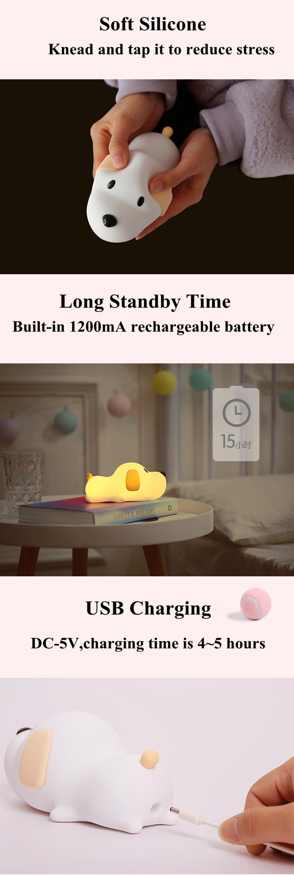 SuperNight Cute Dog LED Night Light Silicone Puppy Rechargeable Timing Dimmable Touch Sensor Kids Baby Bedside Table Lamp Gift (3)
