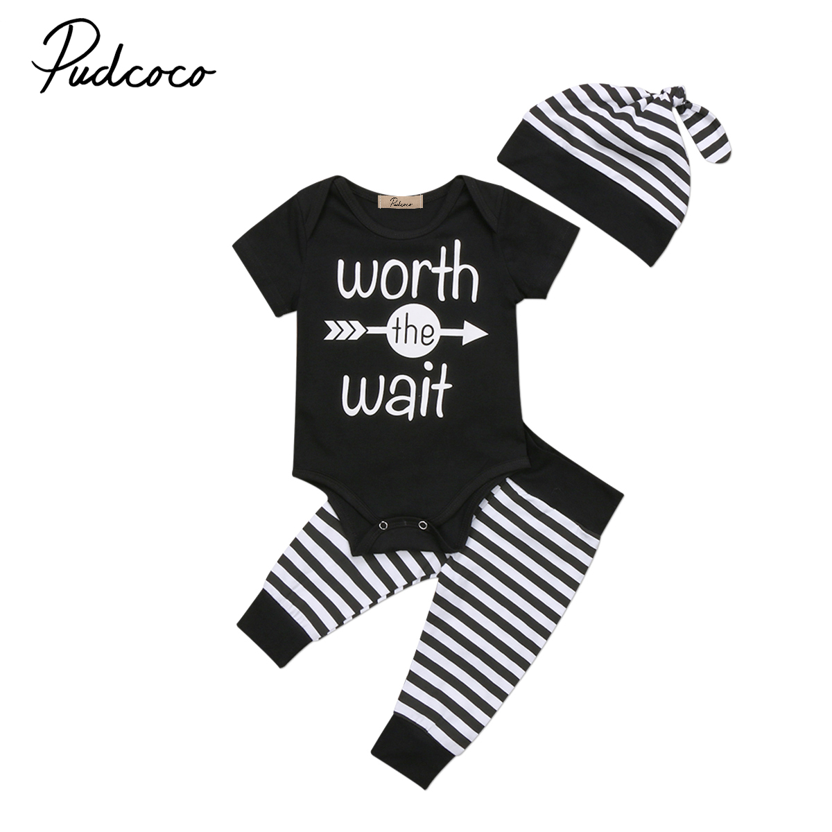 3Pcs Toddler Baby Boys Worth to wait Clothes set 2017 Newborn Short Sleeve Bodysuit Romper Pants Outfits Set Clothes