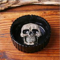 Resin Skull Statue Ashtray Ornaments/White Human Skull Sculpture Cigarette Ashtray Container Replica Home Bar Decor