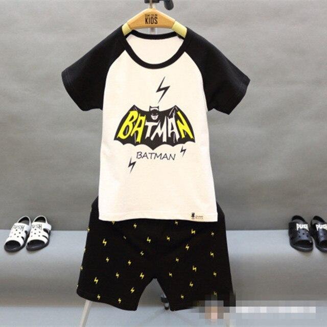 2016 New Summer Children Boys Clothes Sets White Short Sleeve Cartoon Batman Print T Shirt Shors 2 Pcs Suit Kids racksuit 2-7T
