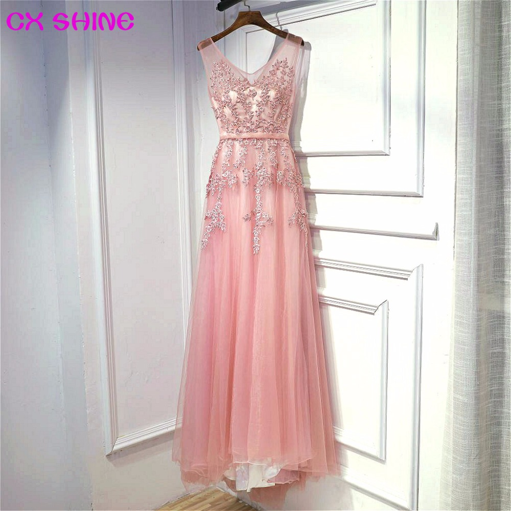 CX SHINE fustane te gjate ne mbrëmje Transparenca 11 me ngjyre roze ngjyrosje ngjyrosje prom feste fustan rrobe de soiree pistë rruge Vestidos