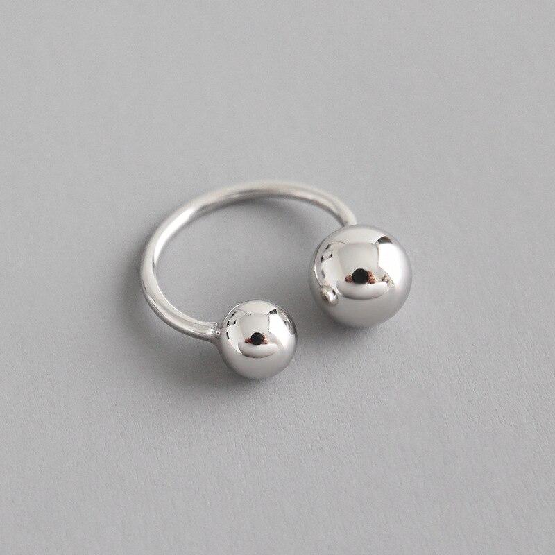 100% 925 en argent sterling double boule anneaux pour femmes accessoires bague femme, mode joint anneau cadeau bijoux anillos mujer