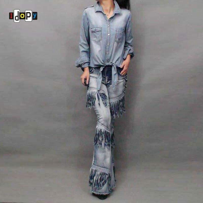 Women`s Novelty Hippie Hip Hop Skinny Bell Bottoms Tassel Moto Flare Leg Prewashed Vintage Looking Jeans Pants For Women в магазине духи escada ibiza hippie