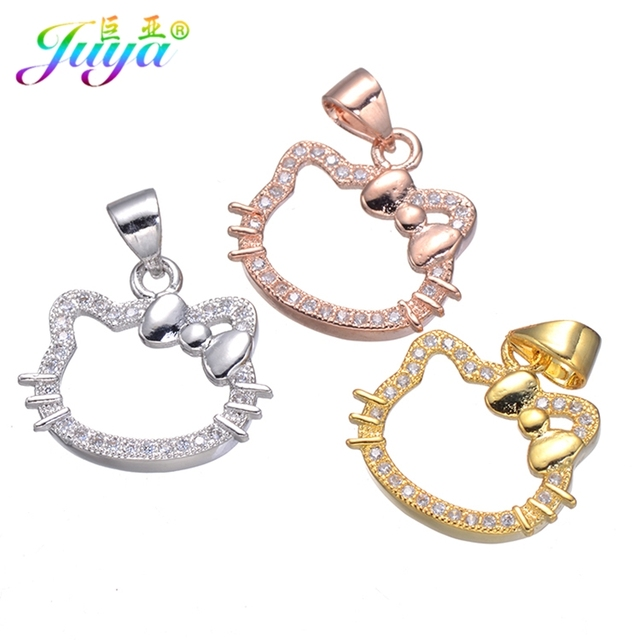 44d587ae1 Juya 5 Pieces Wholesale Jewelry Charms Gold/Silver/Rose Gold Hello Kitty  Cat Charms