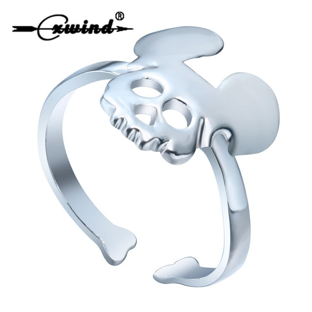 Cxwind Fashion Skull Rings For Women Girl Kid Love Mickey Shape Finger Punk Ring Party Valentine's Gifts Wholesale Jewelry
