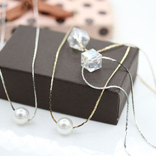 Trendy Square Crystal Pendant Necklace Simulated Pearl Necklaces Women Holiday Beach Gold/Silver Choker minimalist jewelry J40