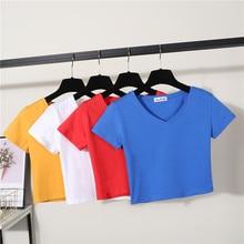 Sexy Women Summer Short Design V-neck Cotton Fit T Shirt Young Girl Lady Slim High Waist Crop Top Basic T-shirt Tops Tees Tshirt